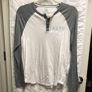 Express Mens Gray White Long Sleeve Shirt